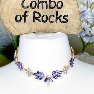 Purple Aurora Borealis Gold Tone Choker Necklace